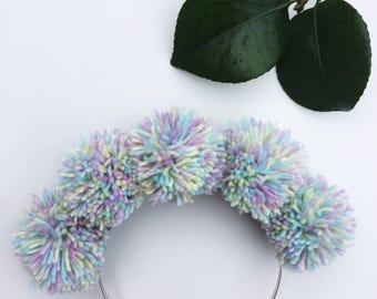 Pom Pom Headband, Unicorn Headband, Pom Pom Hair Accessory, Rainbow Headband, Festival Headband, Glastonbudget, Kitsch Hair Accessory