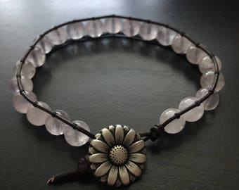 Rose Quartz Leather Bracelet -8.5in