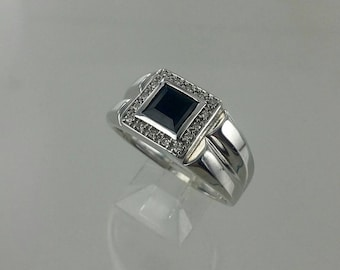 Vintage Genuine Onyx & Diamond Sterling Silver Ring, Sz 11.25