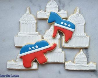Custom Washington, DC Political Parties Sugar Cookies