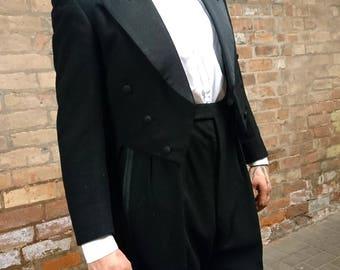 Incredible 40's men's evening suit, 40's dinner suit, vintage tailcoat, mens vintage suit, 1940's pure wool tailcoat suit, 40's mens suit