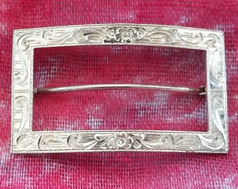 Silver buckle brooch, with attaching pin and catch, marked with maker's stamp M.J. Co