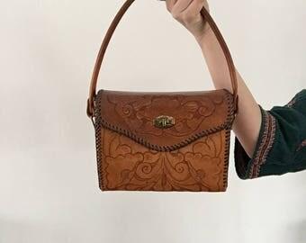 vintage tooled handbag | sturdy | bohemian