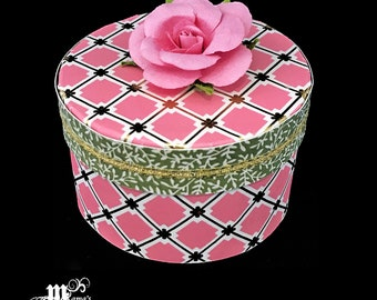 Pink and Gold Squares with Green Stems Paper Mache Jewelry Box, Pink Roses, Spring Rose Collection, Storage Box, Trinket Box, Gifts