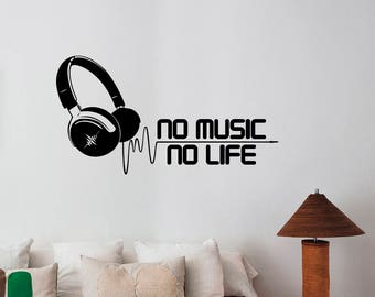 No Music No Life Inspirational Quote Wall Decal Headphones Sticker Vinyl Lettering Musical Art Lifestyle Decorations for Home Room Decor h10
