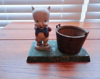 Vintage Metal Porky Pig Figurine with Bucket