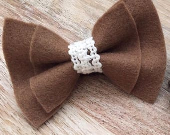 Football Bow - Brown and Lace - Daddy's Girl - Mommy's Girl - Football Season - Baby Girl Headband - Baby Girl Bow - Toddler Clip - NFL