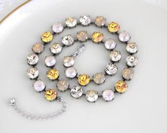 Swarovski crystal necklace, Bridal necklace, Wedding jewelry, Champagne crystal necklace, Antique silver necklace, Choker necklace, Vintage