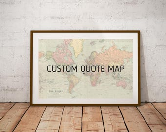 World map world map printntage world map posterp digital custom personalized quote vintage map art print digitalrsonalized map map of the world gumiabroncs Choice Image