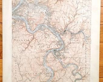 Map Of Mckeesport Etsy - Us map pittsburgh pennsylvania
