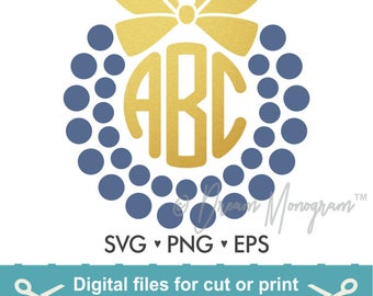 Monogram Frame Svg / Bow Svg / Frame Svg / Cutting files for use with Silhouette Cameo and Cricut