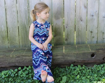Floral Maxi Dress For Girls / Summer Dress for Little Girls / Maxi Dress with Flowers and Chevrons / Pocket Maxi Dress for Toddlers