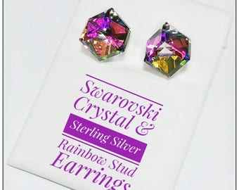 Swarovski Crystal Cube & Sterling Silver Vitrail Medium Stud Earrings