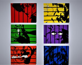 Cowboy Bebop Painted by Hand in Acrylic - TANK! - Hand Stretched Canvas - Spike, Jet, Faye, Ed, Ein & Julia
