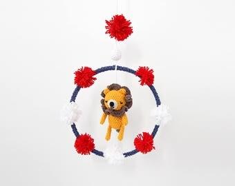 Crochet Circus Lion Mobile Dream Ring – newborn crib mobile, dreamcatcher, handmade baby gift