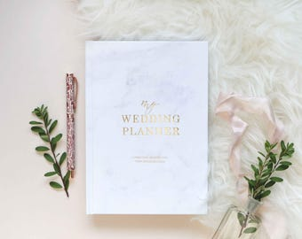 Luxury marble wedding planner book, engagement gift for brides, wedding scrapbook, gift for brides, wedding checklist, wedding organizer