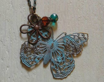 Victorian Butterfly Necklace/Patina Painted Pendant/Boho Chic Necklace/Butterfly Pendant/Brass Necklace