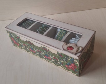 Wooden Tea Box Tea Storage Box Rustic Tea bag Organizer Shabby chic Decor