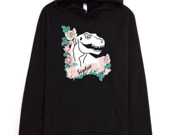 Personalized Hoodie, Dinosaur Hoodie, Dinosaur Sweatshirt, American Apparel Hoodie, Custom Name Hoodie, Monogram Hoodie, Black Hoodie,