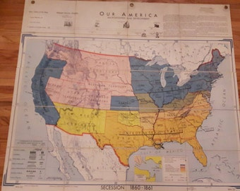 midcentury high school map secession 1860 - 1861