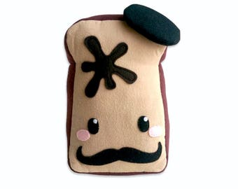 French toast plushie, bread pillow, cushion, stuffed toy, breadkfast toy, snack toy,  Kawaii plush, food toy, mustache, beret,
