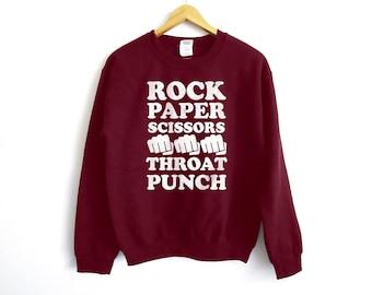 Rock Paper Scissors Sweater - Funny Sweatshirt - Trendy Sweater - Tumblr Shirt - College Shirt - Anti Social Shirt - Bff Gift - Gifts