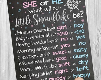 gender reveal ideas, winter gender reveal party, winter baby shower ideas, old wives tales poster, snowflake gender reveal, snowflake baby