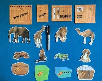 Felt stories inspired  Dear zoo  16 pieces//felt board stories realistic animals//zoo felt board stories//preschool//ECE