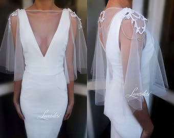 Bridal cover up with epaulettes,Bridal cover up,Bridal cape,Bridal cape with epaulettes,Bridal cape with rhinestones,Wedding cover up