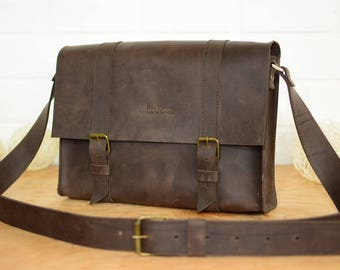 Men's city-style messenger bag / Leather messenger bag, Leather laptop bag,  Leather satchel bag, Shoulder messenger bag, Mens leather Bag