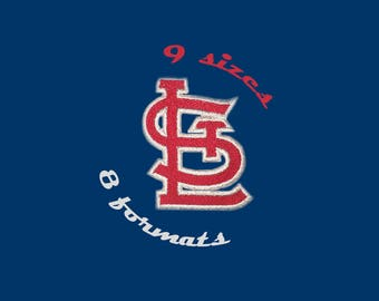 9 Sizes St. Louis Cardinals Inspired Machine Embroidery Designs in 8 formats and 9 sizes