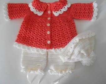 Crochet Baby Sweater Set with Pants and Hat Bright Peach