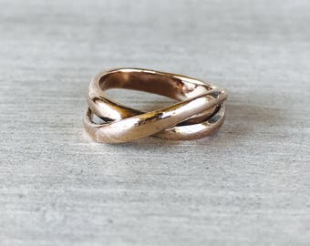 Vintage rose gold pinky or midi ring
