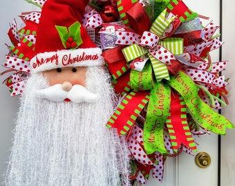 Santa Wreath, Santa Claus Wreath for Front Door, Red and Green Wreath, Santa Decoration, Wall Decor for Christmas, Porch Wreath, Best Door