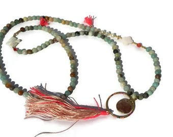 Long necklace, Amazonite, multicolor, Boho chic, agate, mother of Pearl pendant, freshwater pearls, tassels