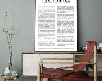 Family Proclamation Print- Masculine Modern Title- LDS- Various Sizes