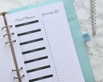 Printed Meal/Menu Planner & Tear-Off Grocery Shopping List - A5