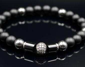 Cubic Zirconia Bracelet For Men Gemstone Bracelet Onyx Bracelet Elastic Bracelet Men's Jewelry Beaded Bracelet Hematite Bracelet Armband