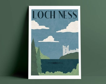 Loch Ness Travel Poster A4 Art Print