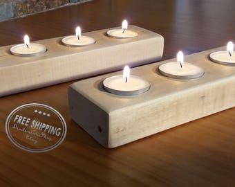 Wooden Candle Holder, Rustic Candle Holder, Four Tea Light Holder,  Christmas Decor,