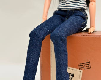 Momoko clothes, real blue jeans for Momoko, denim pants for Japanese doll, with real pockets and belt loops, 12 inches doll fashion