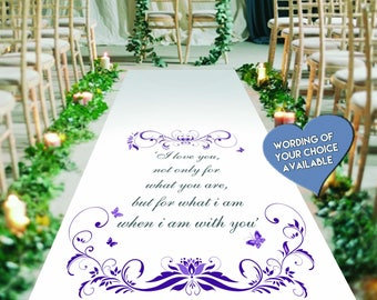 Butterfly. Personalised Wedding Aisle Runner. Custom Wedding Ceromony Carpet Decoration with initials & Date