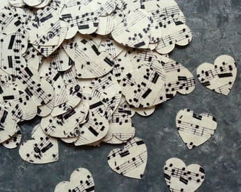 Music Heart Confetti Wedding Table Scatter Small 3/4 inch Vintage Music Hearts Confetti 215 Cardstock Musical Note Hearts