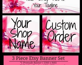 3 Piece Pink Swirl Banner Set