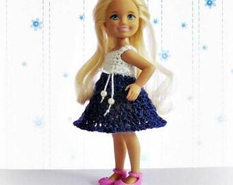 Chelsea doll dress, Barbie sister, Chelsea doll clothes, Kelly doll clothes, Barbie accessories,miniature dress, Barbie dress, crochet dress