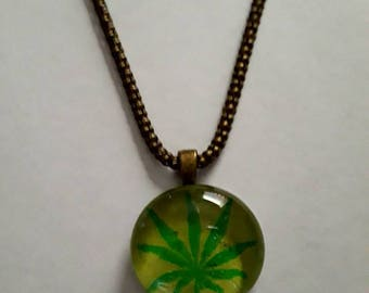 Handmade Green Cannabis Cabochon with Antique Bronze Snake Chain