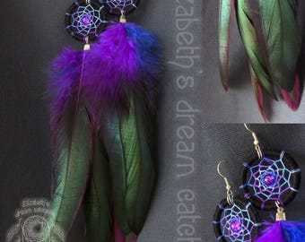 Dreamcatcher earrings Feather earrings Earrings Blue Purple gift for women hair feathers natural feather jewelry boheme Earring Long