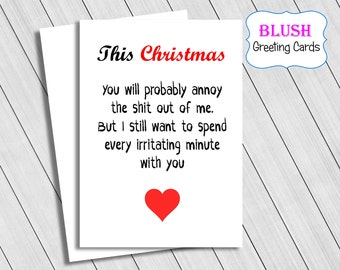 Christmas Card, Funny Christmas Cards, Adult Christmas Cards, Rude Cards, Card For Husband, Card For Wife, For Him, For Her