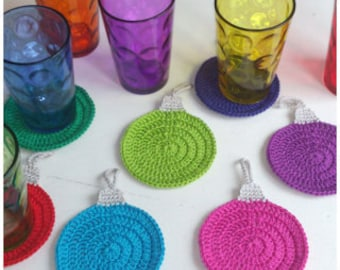 Christmas Coasters, Christmas Decor, Crochet Coasters.