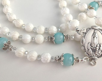 White Carved Shell Rosary, Our Lady of Fatima Rosary, White and Blue Rosary, Catholic 5 Decade Rosary